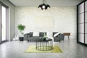 Black picture frame in living room