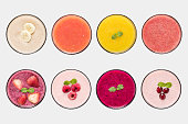 Mockup fruit smoothie and fruit juice set isolated on white background. Clipping Path included on white background.