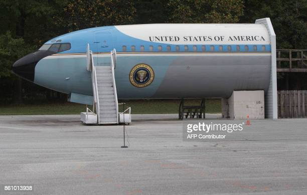 A mockup of Air Force One is seen as the US President and the First Lady tour the United States Secret Service James J Rowley training facility in...