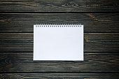 mockup of open album with blank white page. Gorizontal orientation