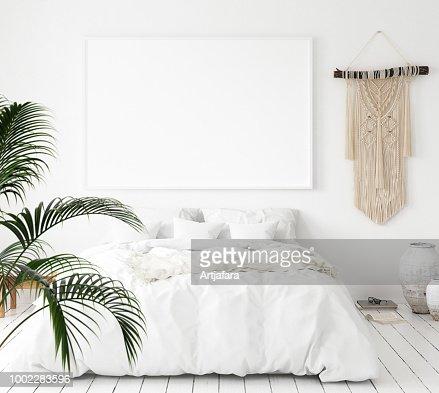 Mock-up poster frame in bedroom, Scandinavian style : Stock Photo