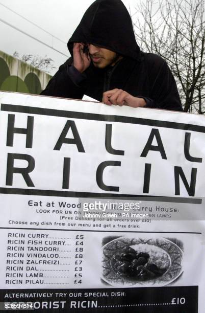 A mockup 'Ricin Menu' displayed by a moslem protestor in relation to the ricin incidents in Wood Green and Manchester in recent weeks at a...
