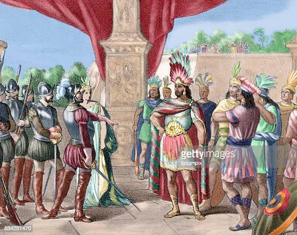 Moctezuma II Ninth tlatoani or ruler of Tenochtitlan reigning from 1502 to 1520 Hernan Cortes takes prisoner Moctezuma II Colored engraving 1875