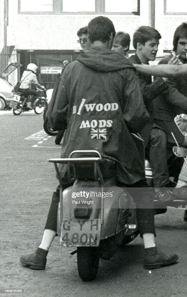Mod on a scooter in the Carnaby Street area of London filming 'Steppin' Out', summer 1979. 'Steppin' Out' is a short music documentary movie that was released in 1979. It was directed by Australian film director Lyndall Hobbs and was a survey of fashionable lifestyles in London which featured Secret Affair (photo by Paul Wright).