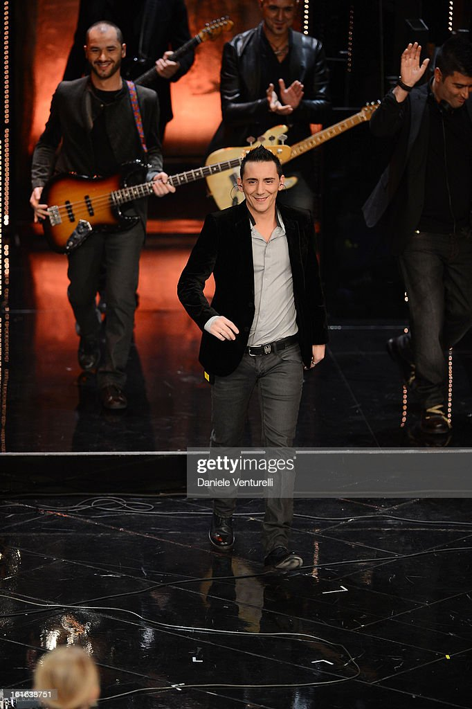 Moda attend the second night of the 63rd Sanremo Song Festival at the Ariston Theatre on February 13, 2013 in Sanremo, Italy.