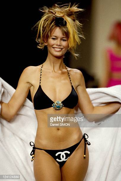 Mode Chanel Swim suits in Paris France in October 1993 Claudia Schiffer
