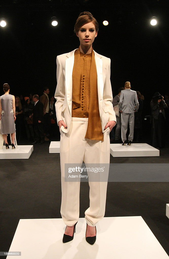 A mode poses at Blaenk Autumn/Winter 2013/14 fashion show during Mercedes-Benz Fashion Week Berlin at Brandenburg Gate on January 18, 2013 in Berlin, Germany.