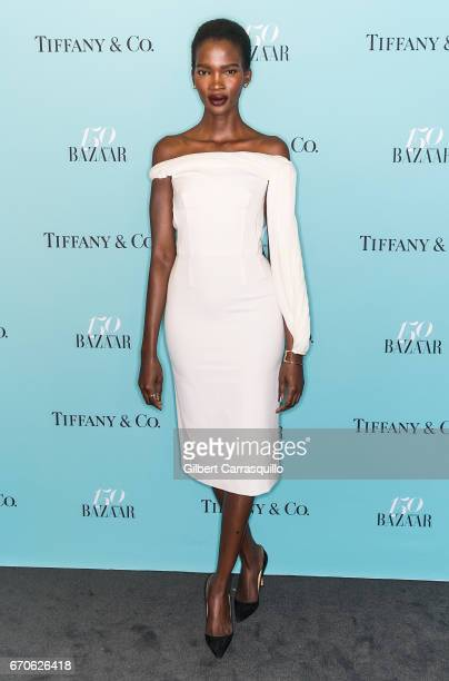 Model Aamito Lagum attends Harper's BAZAAR 150th Anniversary Event presented with Tiffany Co at The Rainbow Room on April 19 2017 in New York City