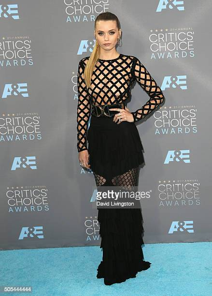 Model Abbey Lee Kershaw attends The 21st Annual Critics' Choice Awards at Barker Hangar on January 17 2016 in Santa Monica California