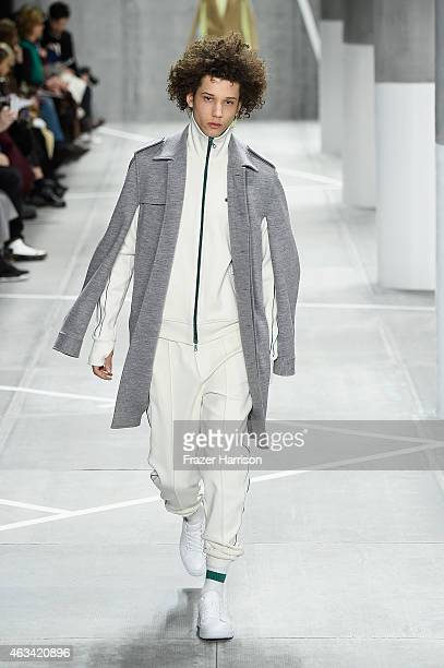 Model Abiah Hostvedt walks the runway at the Lacoste fashion show during MercedesBenz Fashion Week Fall 2015 at The Theatre at Lincoln Center on...
