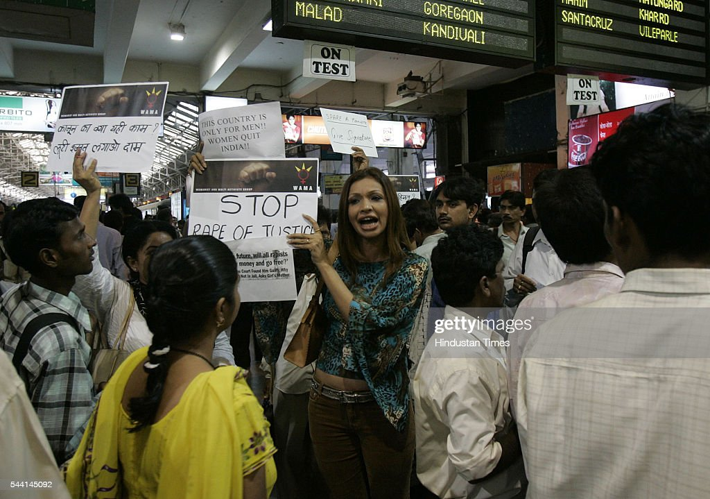 Model Achala Sachdev appealing people to sign a petition against the recent court judgement concerning rape cases at Churchgate.