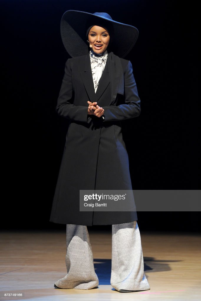 Model & Activist Halima Aden speaks onstage during Glamour Celebrates 2017 Women Of The Year Live Summit at Brooklyn Museum on November 13, 2017 in New York City.