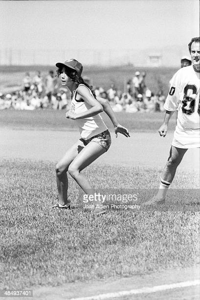Model actress and singer Barbi Benton ready to steal base at the Kenny Rogers Golden Nugget celebrity softball game to aid the Nevada Special...