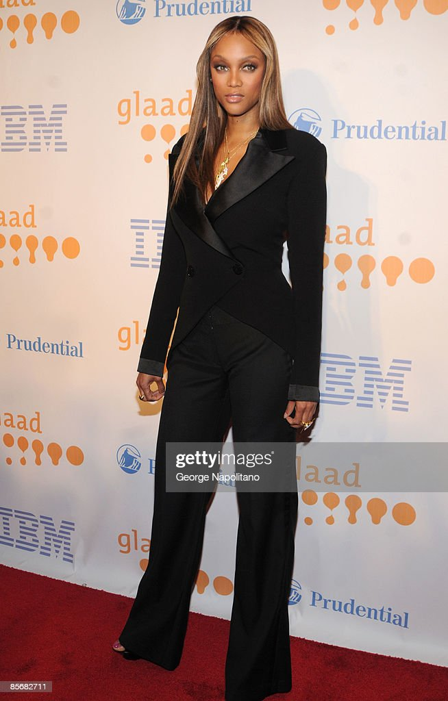 Model, actress and TV personality Tyra Banks arrives at the 20th Annual GLAAD Media Awards at the Marriott Marquis on March 28, 2009 in New York City.