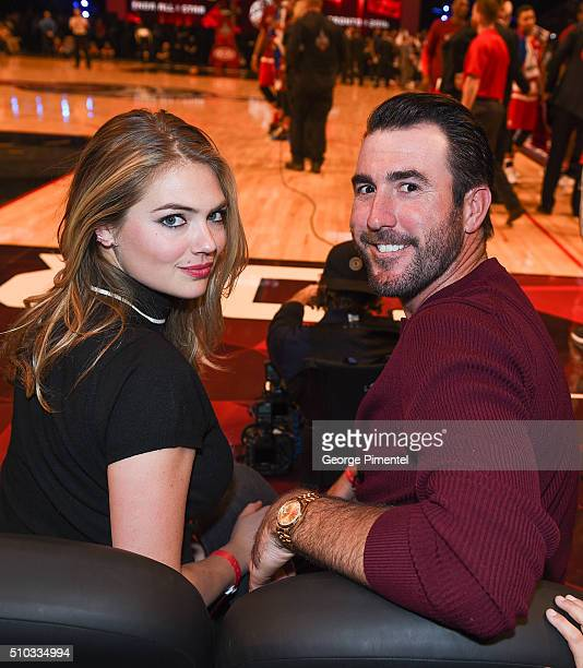 Model/ Actress Kate Upton and Justin Verlander attend the 2016 NBA AllStar Game at Air Canada Centre on February 14 2016 in Toronto Canada