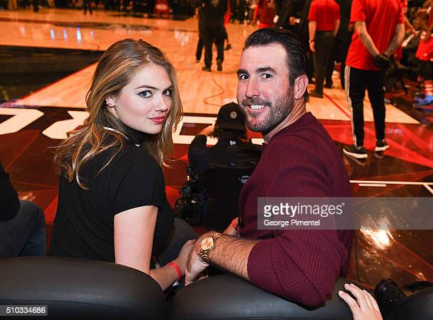 Model/ Actress Kate Upton and Justin Verlander attends the 2016 NBA AllStar Game at Air Canada Centre on February 14 2016 in Toronto Canada