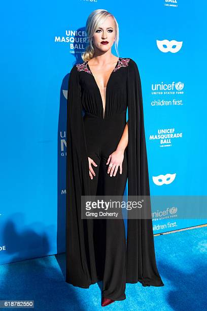Model Actress Wrestler Danielle Moinet arrives at the 4th Annual UNICEF Masquerade Ball at Clifton's Cafeteria on October 27 2016 in Los Angeles...