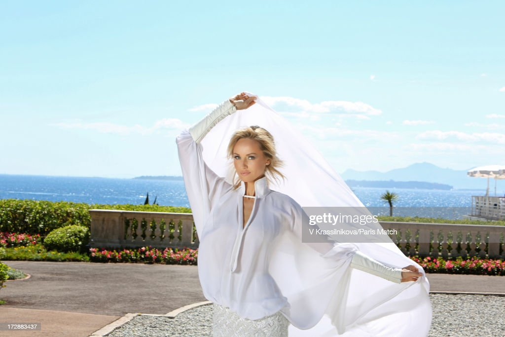 Model Adriana Karembeu is photographed for Paris Match on June 21, 2013 in Cap d'Antibes, France.