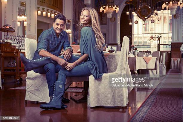 Model Adriana Karembeu with her husband Aram Ohanian are photographed for Paris Match on August 31 2014 in Prague Czech Republic