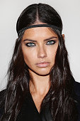 Model Adriana Lima poses backstage ahead of the Versace show during Milan Fashion Week Fall/Winter 2016/17 on February 26 2016 in Milan Italy