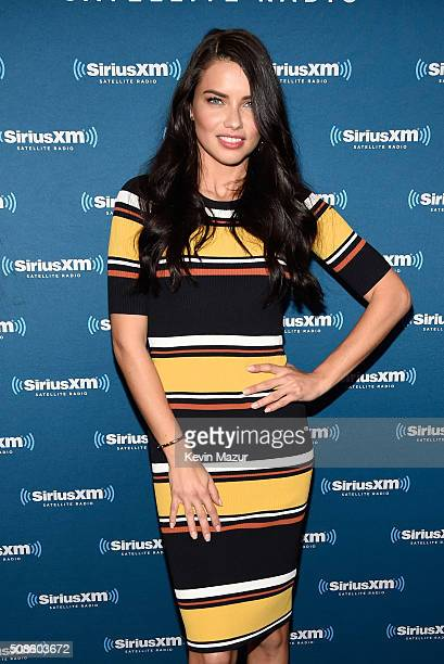 Model Adriana Lima visits the SiriusXM set at Super Bowl 50 Radio Row at the Moscone Center on February 5 2016 in San Francisco California