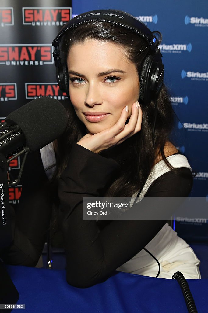 Model Adriana Lima visits the SiriusXM set at Super Bowl 50 Radio Row at the Moscone Center on February 5, 2016 in San Francisco, California.