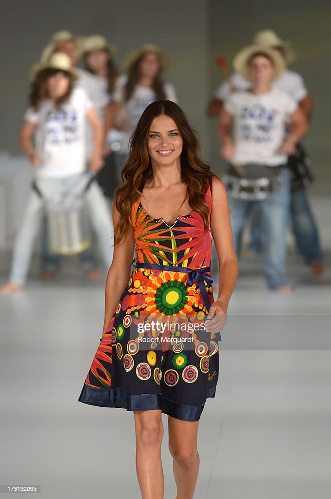 Model Adriana Lima walks the runway at Desigual's Spring-Summer 2014 Collection 'For Everybody: Sex, Fun & Love' during 080 Barcelona Fashion Week on July 9, 2013 in Barcelona, Spain.