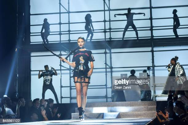 Model Adriana Lima walks the runway at the Philipp Plein fashion show during New York fashion week at Hammerstein Ballroom on September 9 2017 in New...