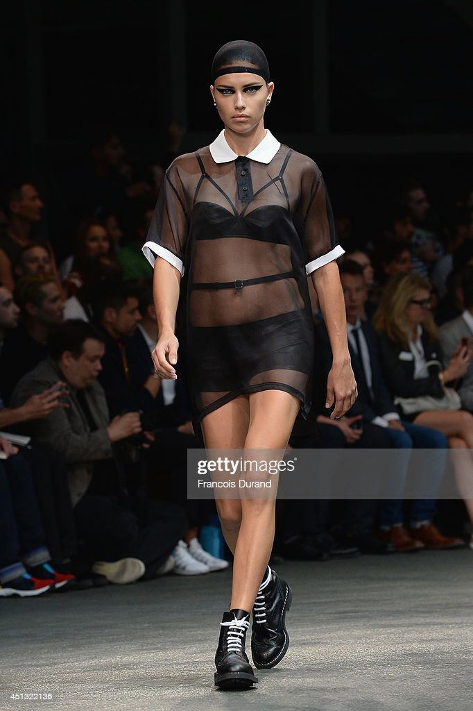 Model Adriana Lima walks the runway during the Givenchy show as part of the Paris Fashion Week Menswear Spring/Summer 2015 on June 27, 2014 in Paris, France.