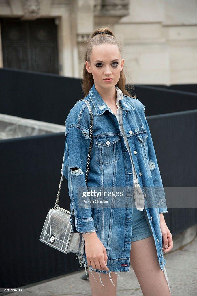 Model Adrienne Jüliger wears a Hollister shirt Zara jacket Levi'u2019s shorts and Dior bag on day 3 of Paris Haute Couture Fashion Week Autumn/Winter...