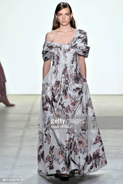 Model Adrienne Jueliger walks the runway at Brock Collection Fashion Show during New York Fashion Week Fall Winter 20172018 on February 9 2017 in New...