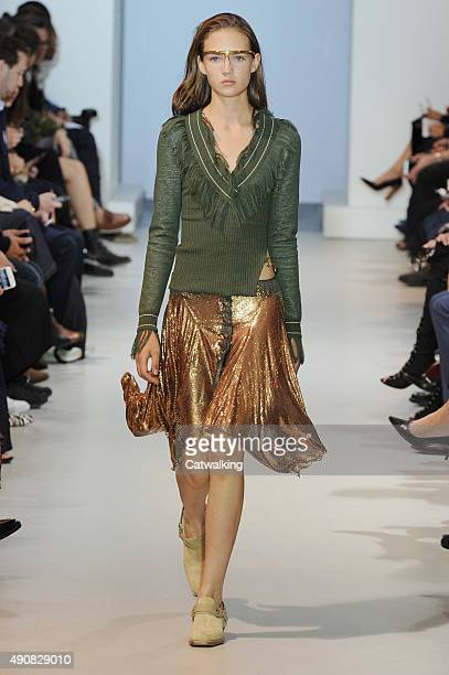 Model Adrienne Jueliger walks the runway at the Paco Rabanne Spring Summer 2016 fashion show during Paris Fashion Week on October 1 2015 in Paris...