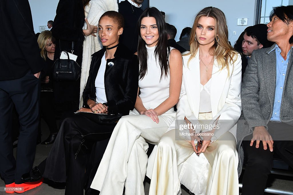 Model Adwoa Aboah, model Kendall Jenner, model Abbey Lee Kershaw and guest attend the Calvin Klein Collection Fall 2016 fashion show during New York Fashion Week at Spring Studios on February 18, 2016 in New York City.