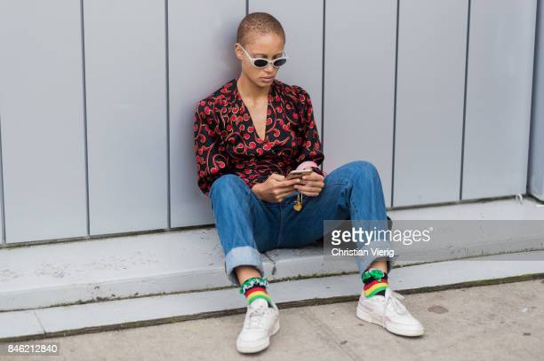 Model Adwoa Aboah seen in the streets of Manhattan outside Coach during New York Fashion Week on September 12 2017 in New York City