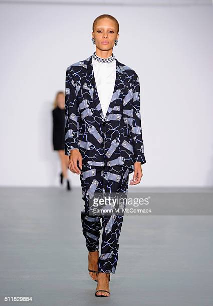 Model Adwoa Aboah walks the runway at the Ashley Williams show during London Fashion Week Autumn/Winter 2016/17 at Brewer Street Car Park on February...
