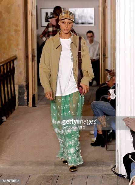 Model Adwoa Aboah walks the runway at the Burberry show during London Fashion Week September 2017 on September 16 2017 in London England