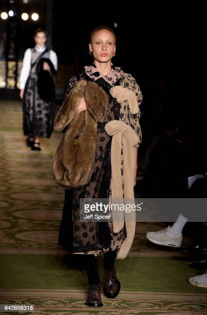 Model Adwoa Aboah walks the runway at the Simone Rocha show during the London Fashion Week February 2017 collections on February 18 2017 in London...