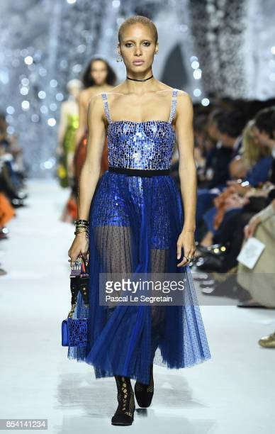 Model Adwoa Aboah walks the runway during the Christian Dior show as part of the Paris Fashion Week Womenswear Spring/Summer 2018 on September 26...