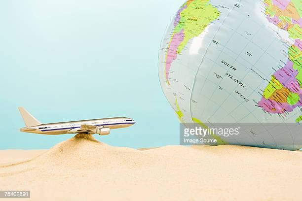 Model aeroplane and globe