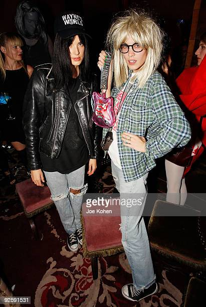 Model Agyness Deyn and TV personality Alexa Chung attend the Heroes vs Villains party at the Gramercy Park Hotel on October 31 2009 in New York City