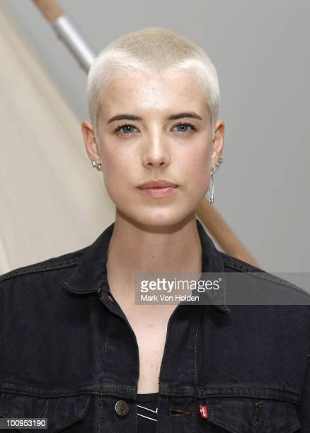 Model Agyness Deyn attends book launch party for 'Glastonbury Another Stage' at Milk Studios on May 25 2010 in New York City