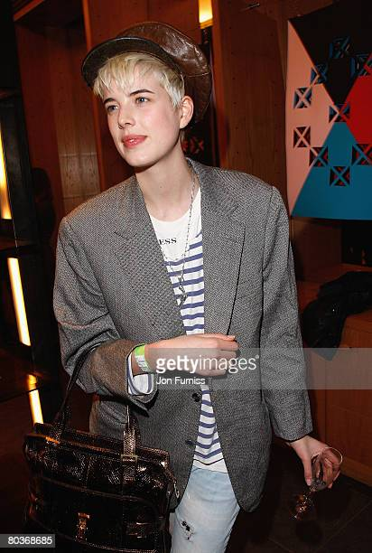 Model Agyness Deyn with a Maggie bag attends the Mulberry Space Presents Gethin Moller Unfolded Private View held at the Mulberry Store New Bond...