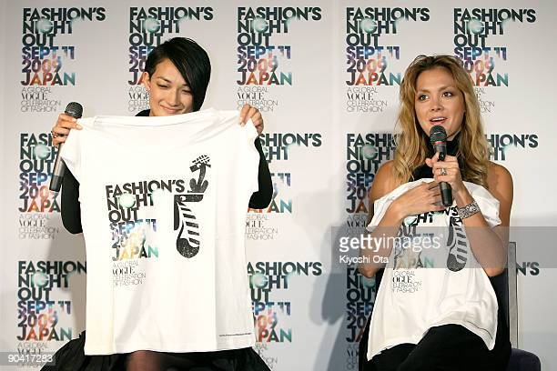 Model Ai Tominaga and singer Anna Tsuchiya show off charity Tshirts for the event during the 'Fashion's Night Out' press conference at Vector Lounge...