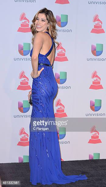 Model Aida Yespica poses backstage during The 14th Annual Latin GRAMMY Awards at the Mandalay Bay Events Center on November 21 2013 in Las Vegas...
