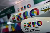 A model aiplane is decorated with the 'Expo 2015' colors to celebrate the partnership beetwen Alitalia Etihad and Expo 2015 on October 20 2014 at the...