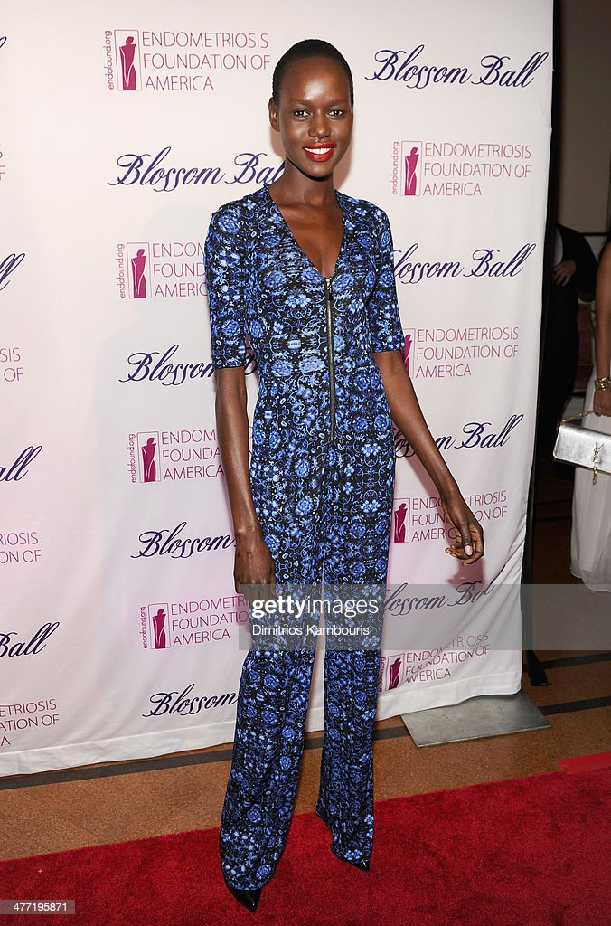 Model Ajak Deng attends the Endometriosis Foundation of America's 6th annual Blossom Ball hosted by Padma Lakshmi and Tamer Seckin, MD at 583 Park Avenue on March 7, 2014 in New York City.
