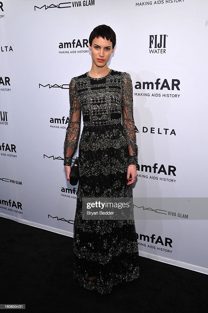 Model Alana Bunte attends the amfAR New York Gala to kick off Fall 2013 Fashion Week at Cipriani Wall Street on February 6, 2013 in New York City.