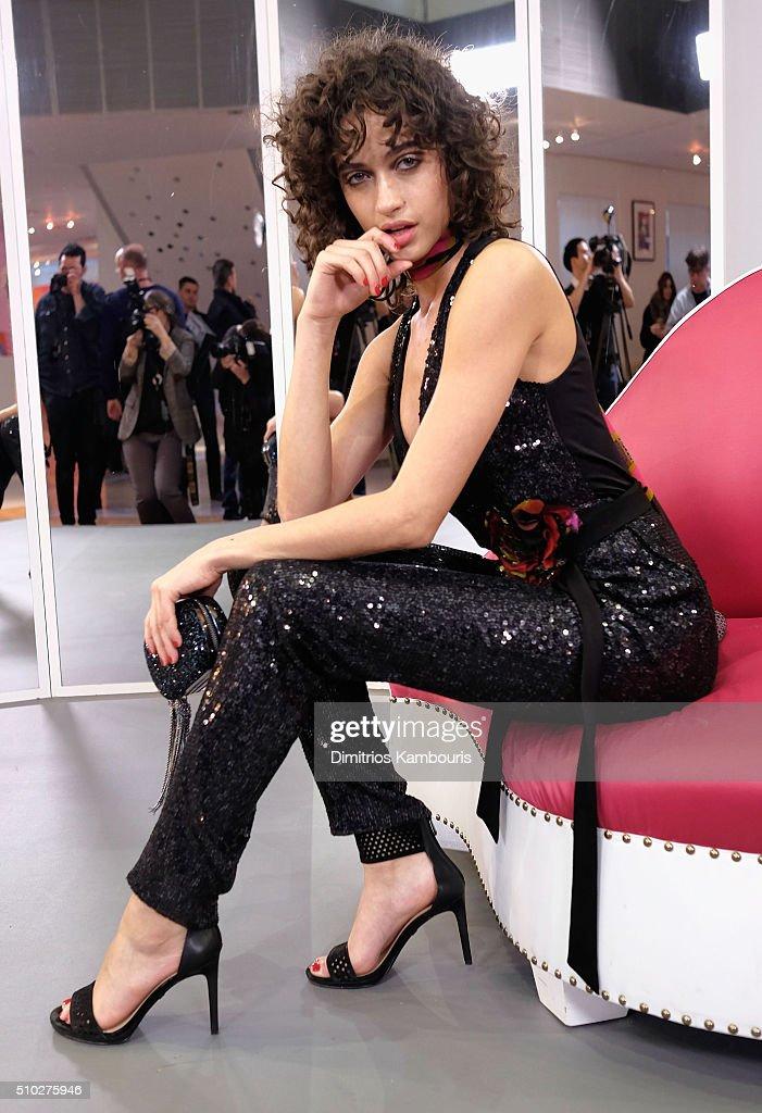 Model Alanna Arrington is seen wearing Diane Von Furstenberg Fall 2016 during New York Fashion Week on February 14, 2016 in New York City.
