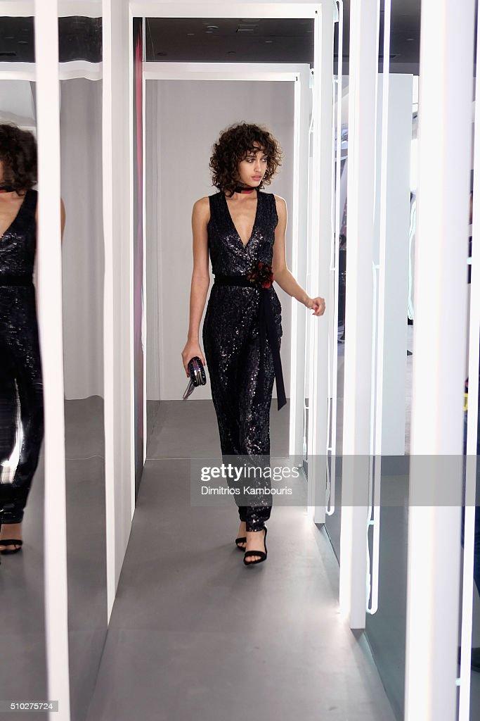 Model Alanna Arrington poses wearing Diane Von Furstenberg Fall 2016 during New York Fashion Week on February 14, 2016 in New York City.