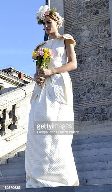 Model Alba Carrillo poses for a photo session wearing a wedding dress on January 15 2013 in Madrid Spain